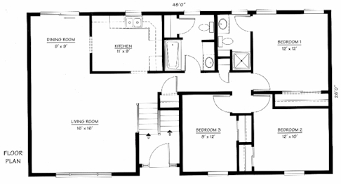 House Floor Plans: Open and Bi-Level House Design Floor Plans